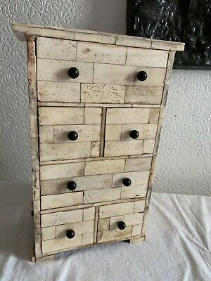 VINTAGE bovine bone miniature chest of drawers jewellery trinket box storage