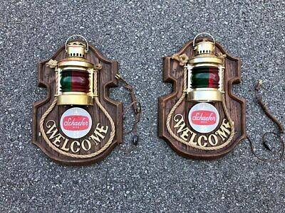 Pair Vintage Schaefer Beer Welcome Lighted Lantern Sign Red Green Nautical Rope