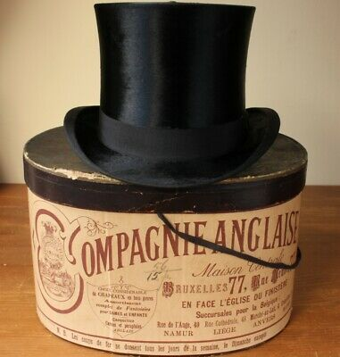 Antique Compagnie Anglaise Silk Top Hat & Box. Black Plush Topper. UK 6 7/8. US7