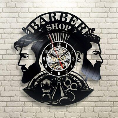 Barber Shop Wall Clock Modern Design Vinyl Record Clocks Hairdresser Wall Watchs