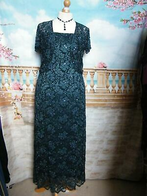 PHASE EIGHT Dress/Ballgown & Bolero/Shrug sz 16 Beaded/Sequin Gatsby Lace  1920s