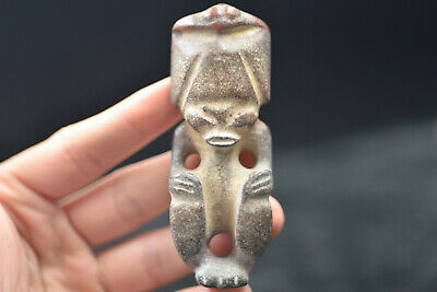 China master Hand carved Hongshan Culture Old jade amulet Pendant #118