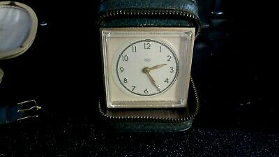 Vintage c1950`s SMITHS Travel Clock With Shagreen Covered Case GWO