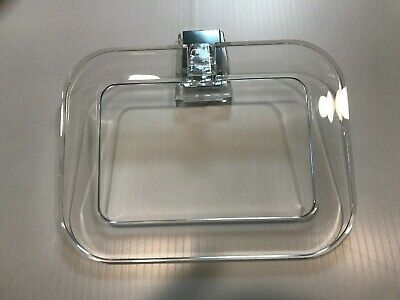 Vintage NOS Clear Lucite & Chrome Square Towel Ring