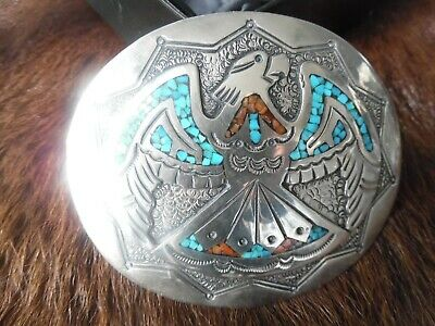Authentic J. Nezzie Navajo Native American Old West Eagle Belt Buckle