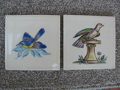 Two Hand Painted Pilkington Tiles.  Birds. Rosalind Ord.