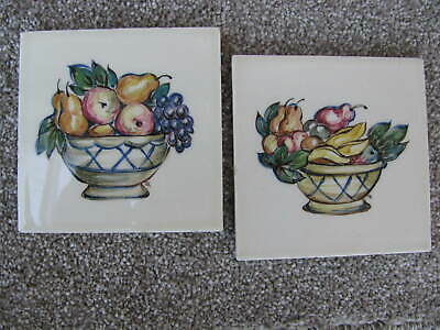 Two Hand Painted Pilkington Tiles. Fruit Baskets. Rosalind Ord.