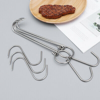 5 Pcs Meat Hooks Stainless Steel Practical Double-hooks for Fish Hanging Butcher