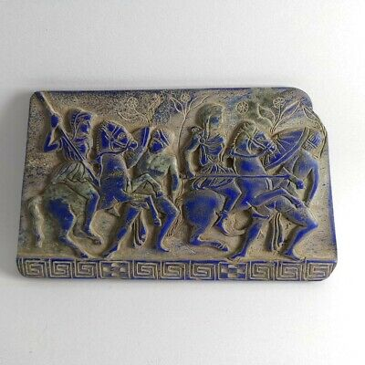 Roman Near Eastern Battle Scene Lapis Lazuli Old Historical Carved Relief #205