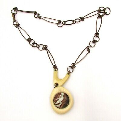 Antique Egyptian Revival Style Necklace & Pendant w Big Natural Eye of the Tiger