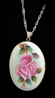 STUNNING! Antique 830 SILVER Hand Painted ENAMEL GUILLOCHE Rose PENDANT Necklace