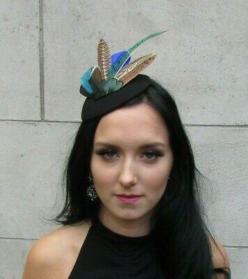 Black Royal Blue Teal Green Peacock Pheasant Feather Hat Fascinator Races 7652