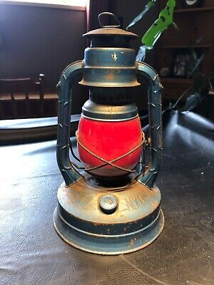 Antique Dietz No. 100 Blue Lantern W Red Painted Globe N. Y. USA Stamped PG&E Co