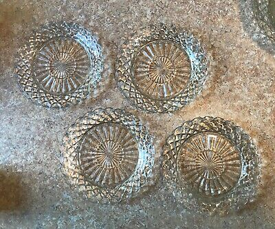 4 Anchor Hocking 7 Inch Waterford Waffle Depression Glass Bread Or Salad Plates