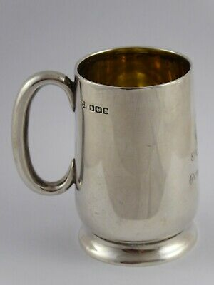 SMART ANTIQUE SOLID STERLING SILVER CHRISTENING MUG TANKARD CUP 1915 66 g