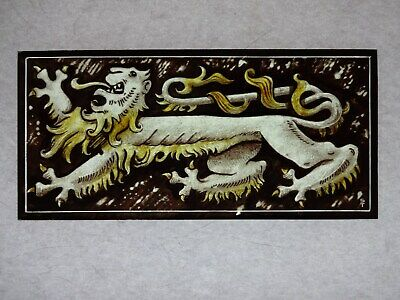 Beautiful Stained glass LION Hand painted Kiln fired 210x100mm Antique style