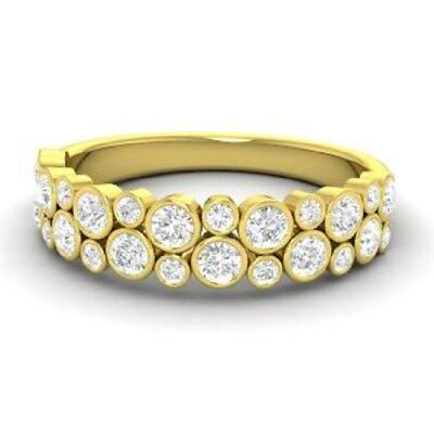0.90 Ct Round Cut Diamond Eternity Engagement Ring 14K Yellow Gold Band Size 6