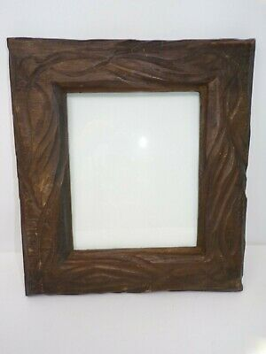 "Vintage rustic wood 12"" x 14"" carved primitive frame wall mount w glass for 8x10"