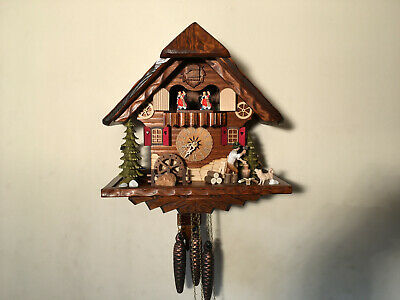 Black Forest Musical Mechanical Cuckoo Clock, Dancers, Lumberjack & Waterwheel