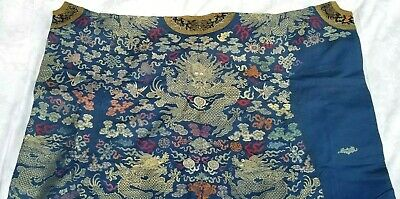 Antique Chinese Silk Dragon Robe Embroidered Kesi Uncut Qing Dynasty 19th/20th C
