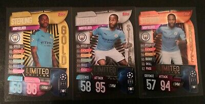 Match Attax 2019/20 Raheem Sterling Gold, Silver & Bronze Limited Edition Set