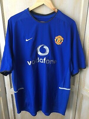 MANCHESTER UNITED FC  X Large Vodafone 2002-03 Vintage 3rd Kit Football Shirt