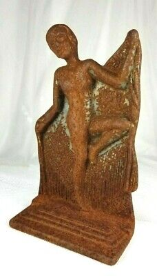 Antique ART NOUVEAU Cast Iron NUDE DECO DANCING LADY STATUE DOORSTOP - VERONA