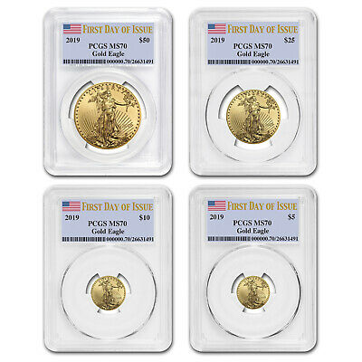 2019 4-Coin Gold Eagle Set MS-70 PCGS (First Day of Issue) - SKU#177808