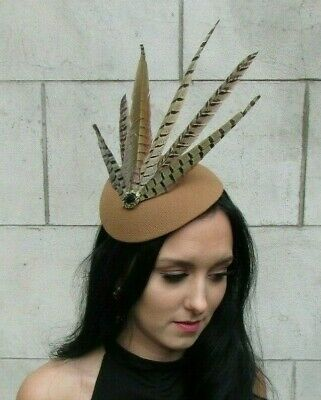 Large Tan Brown Pheasant Feather Hat Fascinator Headband Races Black Bronze 7665