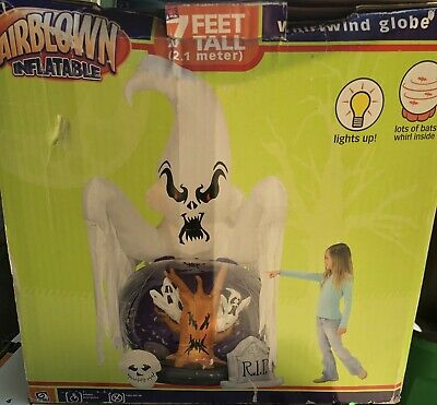 Gemmy Halloween Inflatable Airblown Whirlwind Snow Globe 7 ft Tall Ghosts BATS