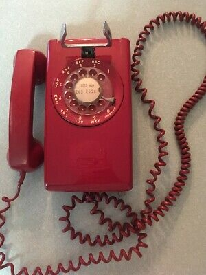 Bell System Western Electric Vintage Red Rotary Wall Phone W/ Original Cord 1974