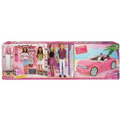 Barbie Dress Up and Go Closet and Convertible Car with 2 Dolls Kids Play Set NEW