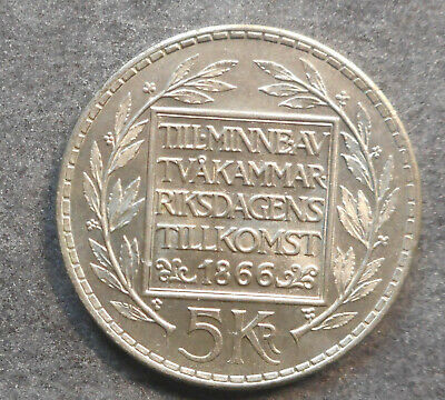 Sweden 1966 100th Anniversary Constitutional Reform  5 Kronor Silver Coin BUNC