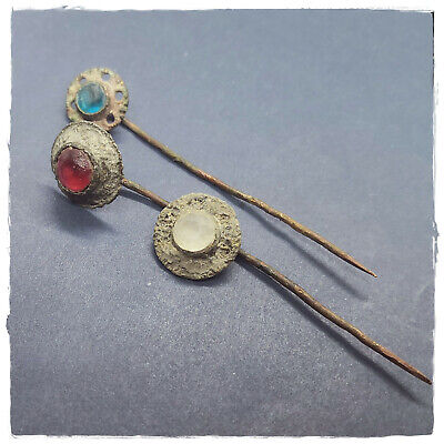** RED - BLUE - WHITE ** Ancient BRONZE BYZANTINE or ROMAN HAIRPINS !!!