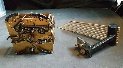 Antique Enfield Clock Movement with Pendulum-8 Hammers-9 Chimes-Hands