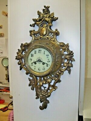 Antique French Bronze Or Brass Cartel Clock