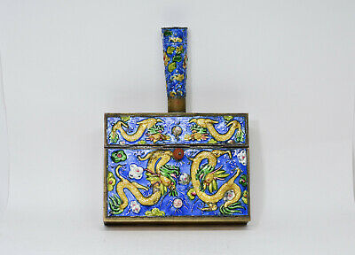 Antique Chinese Export Cloisonne Silent Butler With Dragon Motif - 🐘