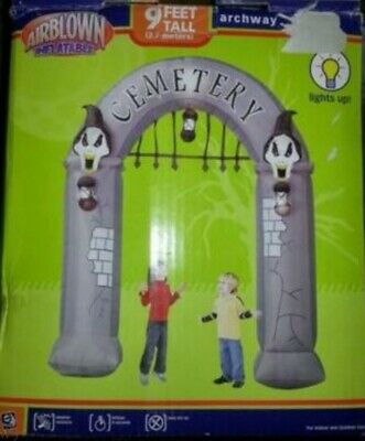 Rare Gemmy Airblown Inflatable Halloween 9 Ft Cemetery Arch Ghosts Lanterns