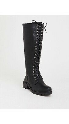 TORRID BLACK LACE-UP TALL COMBAT BOOTS SIZE 13 Wide