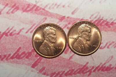 1944 P mint uncirculated red (2) coin lot Lincoln wheat cents from roll (uat-12)