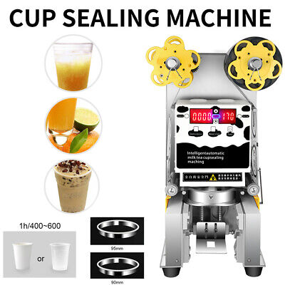 Commercial 450W Automatic Electric Digital Tea Milk Cup Sealer Sealing Machine