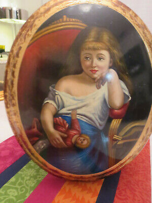 Antique Oil Panting on Wood Girl with Doll Austria