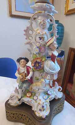 Antique Dresden German Sitzendorf Voight Bros Porcelain Lamp