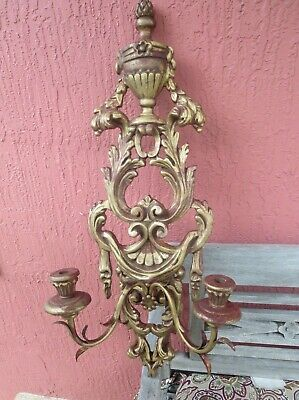 One  ITALIAN RENAISSANCE STYLE HAND CARVED 2 ARMS WOOD CANDLE WALL SCONCE