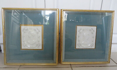 Framed pair of vintage Italy Italian Neoclassical ceramic portrait wall plaques