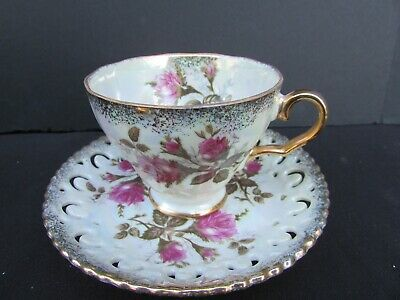 Antique PINK ROSE FLORAL Lusterware Cup & Saucer w Gold Trim Pretty