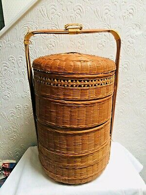 Antique Vintage Stacking Chinese 4 Tier Bamboo Sewing Basket