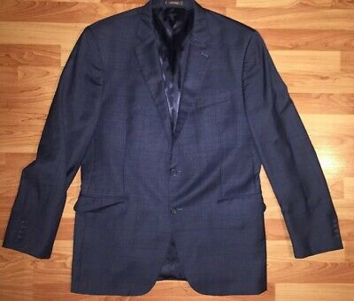 Peter Millar Men's 2 Button Dual Vent 44T Grey Checkered Sports Coat Blazer