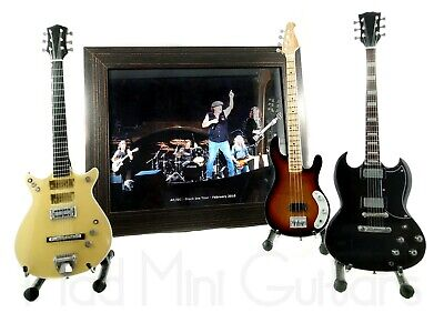 Miniature Guitars AC/DC FULL BAND SET with Stand + Photo + Frame 8x10 inches