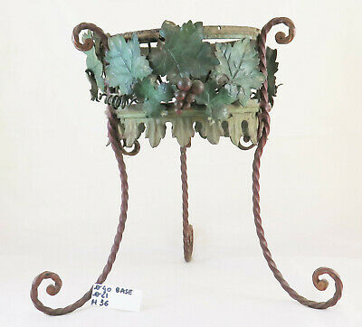 Planter Antique Wrought Iron Flower Pot Decorated with Designs Floral Blossom